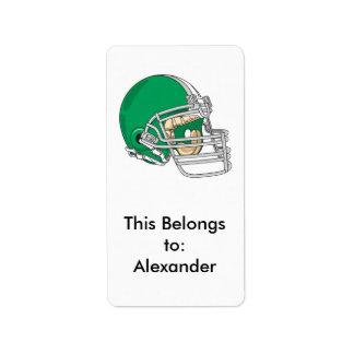 vector verde del casco de fútbol americano etiquetas de dirección
