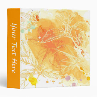 Vector Watercolor Background & Tropical Flowers 3 Ring Binder