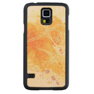 Vector Watercolor Background & Tropical Flowers Carved® Maple Galaxy S5 Case