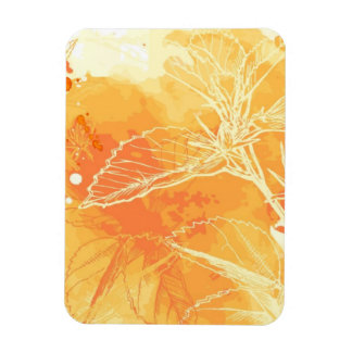 Vector Watercolor Background & Tropical Flowers Magnet