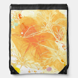 Vector Watercolor Background & Tropical Flowers Drawstring Bags