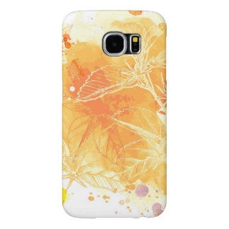 Vector Watercolor Background & Tropical Flowers Samsung Galaxy S6 Cases