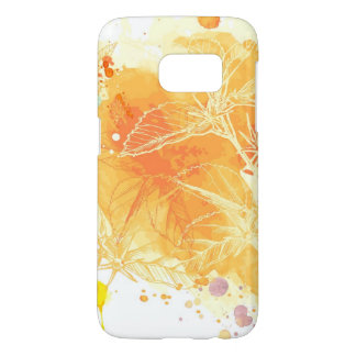 Vector Watercolor Background & Tropical Flowers Samsung Galaxy S7 Case