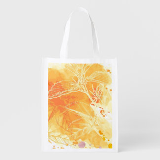 Vector Watercolor Background & Tropical Flowers Market Totes