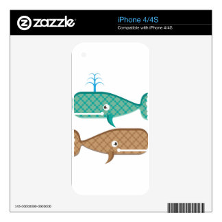 Vector whale textured decals for iPhone 4