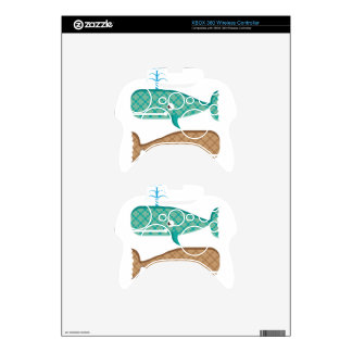 Vector whale textured xbox 360 controller skins