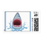 vectorstock_383155 Cartoon Shark Teeth hungry Postage Stamps