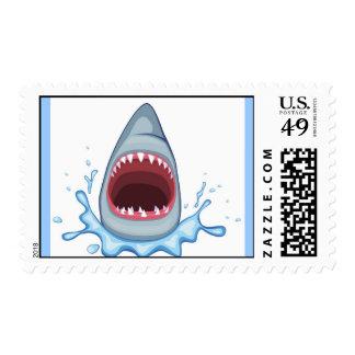 vectorstock_383155 Cartoon Shark Teeth hungry Postage Stamps