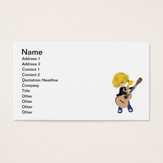 vectorstock_507105 Cute blonde girl guitar rock Business Card