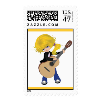 vectorstock_507105 Cute blonde girl guitar rock Postage