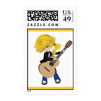 vectorstock_507105 Cute blonde girl guitar rock Postage Stamps