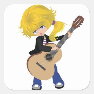 vectorstock_507105 Cute blonde girl guitar rock Square Sticker