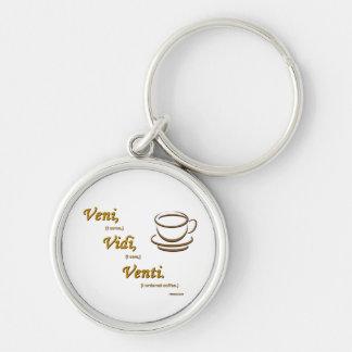Vedi, Vidi, Venti. Silver-Colored Round Keychain