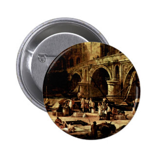 Vedute Of A Port At The River By Carlevarijs Luca Pinback Button