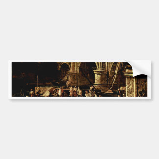 Vedute Of A Port At The River By Carlevarijs Luca Car Bumper Sticker