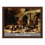 """Vedute Of A Port At The River By Carlevarijs Luca 4.25"""" X 5.5"""" Invitation Card"""