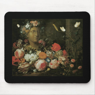 Veerendael Flowers round a Classical Bust Mouse Pads