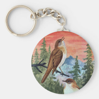 Veeries in a Coniferous Forest Basic Round Button Keychain