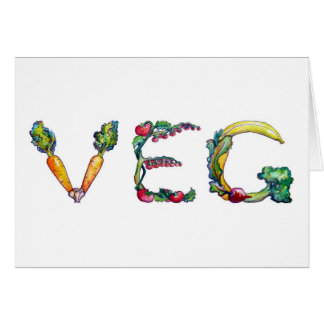 """Veg"" Blank Inside Notecards Card"