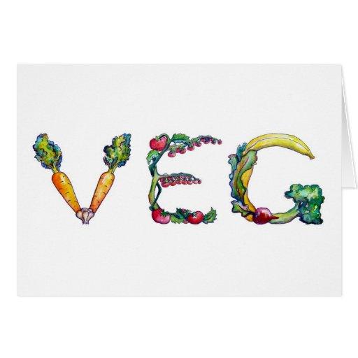 """Veg"" Blank Inside Notecards Card"