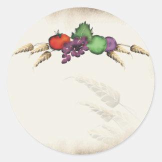 Veg de la fruta del trigo pintado de mi palillo pegatina redonda