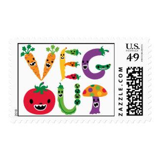 Veg Out comical cartoon postage stamp