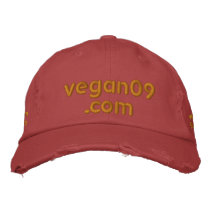vegan09.com Distressed Embroidered Baseball Cap