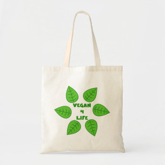 Vegan 4 Life Green Leaves Tote Bag