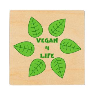 Vegan 4 Life Green Leaves Wood Coaster