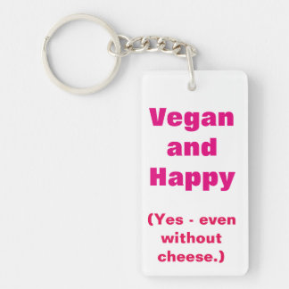 Vegan and Happy Rectangle (double-sided) Keychain