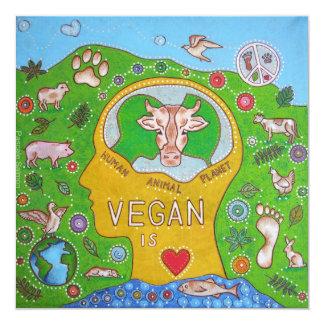 "Vegan animal human planet invitación 5.25"" x 5.25"""