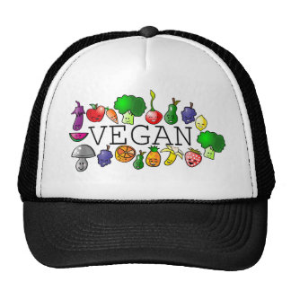 Vegan. animal rights. fruits. raw food. trucker hat