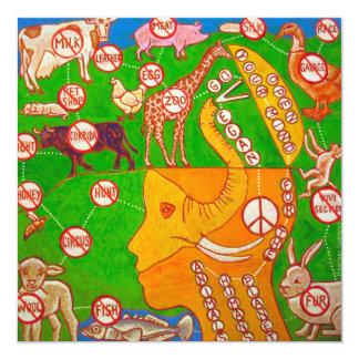 Vegan animals freedom 5.25x5.25 square paper invitation card