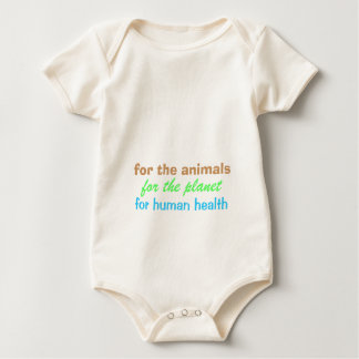 VEGAN animals, planet, health (pink back) Baby Bodysuit