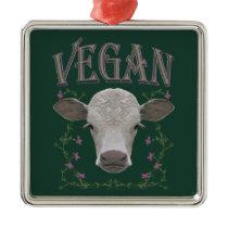 Vegan - animals want to live metal ornament