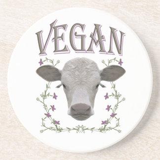 Vegan - animals want to live sandstone coaster