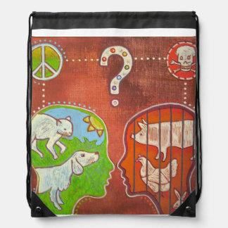 Vegan anti speciesism drawstring bag