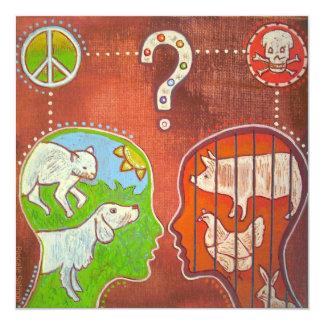 Vegan anti speciesism 5.25x5.25 square paper invitation card