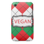 Vegan Argyle Red and Green iPhone 3 Case-Mate Cases