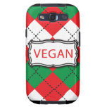 Vegan Argyle Red and Green Galaxy SIII Cover