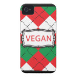 Vegan Argyle Red and Green iPhone 4 Cover