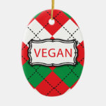 Vegan Argyle Red and Green Ornament