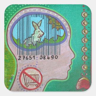 Vegan barcode square sticker