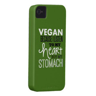 vegan because i listen to my heart not my stomach. iPhone 4 Case-Mate case