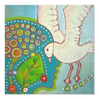 vegan bird 5.25x5.25 square paper invitation card