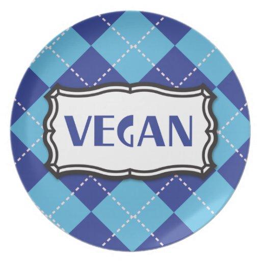 Vegan (Blue Argyle) Dinner Plate