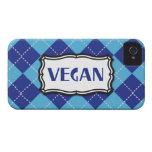 Vegan (Blue Argyle Pattern) iPhone 4 Case-Mate Cases