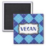 Vegan (Blue Argyle Pattern) Refrigerator Magnet
