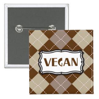 Vegan (Brown Argyle) 2 Inch Square Button