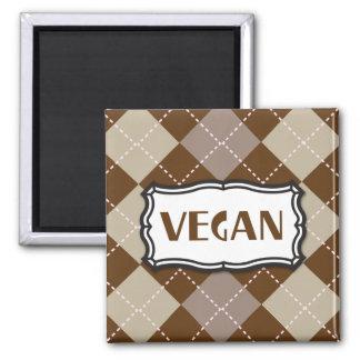 Vegan (Brown Argyle) 2 Inch Square Magnet